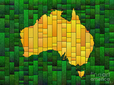 Digital Art - Australia Map Glasa In Green And Yellow by Eleven Corners