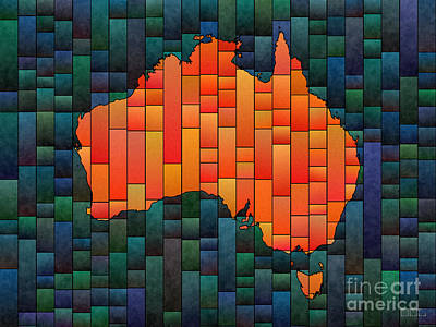 Digital Art - Australia Map Glasa In Orange, Blue And Green by Eleven Corners