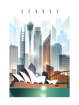 Sydney Skyline Painting - Australia Sydney City Skyline 2 by Unique Drawing
