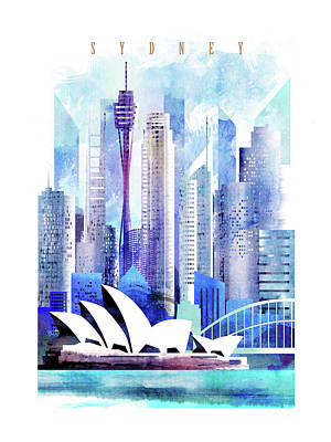 Sydney Skyline Painting - Australia Sydney City Skyline by Unique Drawing