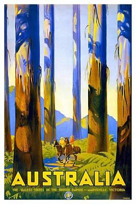 Photograph - Australia - The Tallest Trees In The British Empire - Marysville, Victoria - Retro Travel Poster by Studio Grafiikka