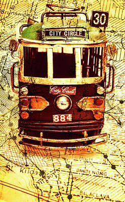Pop Art Royalty-Free and Rights-Managed Images - Australia travel tram map by Jorgo Photography - Wall Art Gallery
