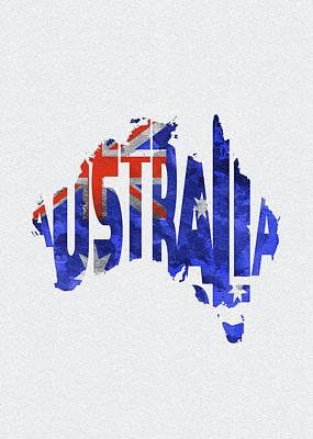 Digital Art - Australia Typographic World Map by Inspirowl Design