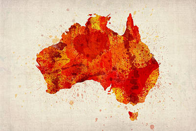Crosses Digital Art - Australia Watercolor Map Art Print by Michael Tompsett
