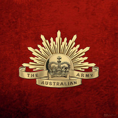 Digital Art - Australian Army Badge Over Red Velvet by Serge Averbukh