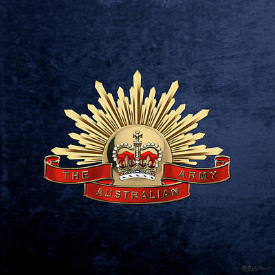 Digital Art - Australian Army Emblem Over Blue Velvet by Serge Averbukh