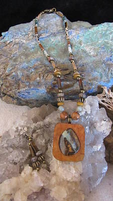 Mixed Media - Australian Boulder Opal Set In Gourd Wood # R93 by Barbara Prestridge