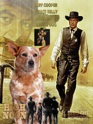 Painting - Australian Cattle Dog Art Canvas Print - High Noon  Movie Poster by Sandra Sij
