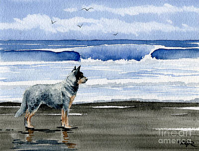 Cattle Dog Painting - Australian Cattle Dog At The Beach by David Rogers