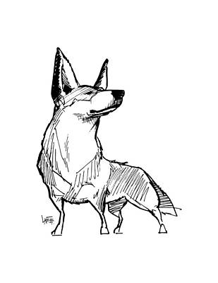 Drawing - Australian Cattle Dog Gesture Sketch by John LaFree