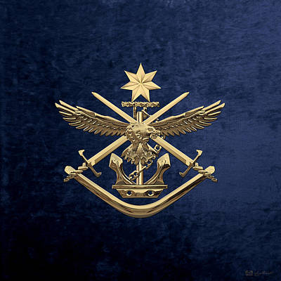 Digital Art - Australian Defence Force - Adf Badge Over Blue Velvet by Serge Averbukh
