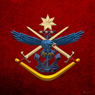 Digital Art - Australian Defence Force - Adf Joint Services Emblem Over Red Velvet by Serge Averbukh