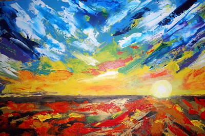 Wall Art - Mixed Media - Australian Dessert Sunset by Linda Bartlett