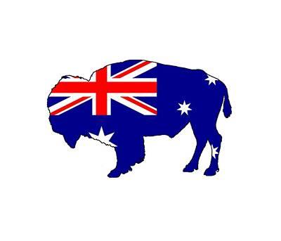 Bison Digital Art - Australian Flag - Bison by Steph J Marten