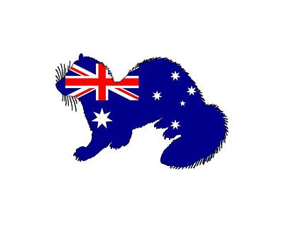 Ferrets Digital Art - Australian Flag - Ferret by Steph J Marten