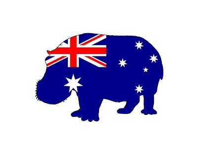 Hippopotamus Digital Art - Australian Flag - Hippopotamus by Steph J Marten