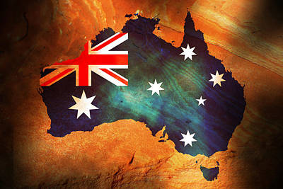 Australian Flag On Rock Original by Phill Petrovic