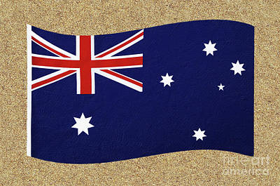 Photograph - Australian Flag On Sand By Kaye Menner by Kaye Menner