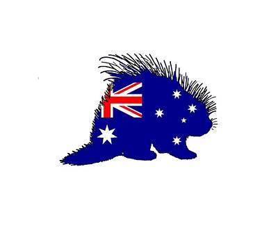 Porcupine Digital Art - Australian Flag - Porcupine by Mordax Furittus