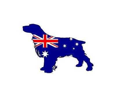 Breed Digital Art - Australian Flag - Spaniel by Water color Art by TheJollyMarten