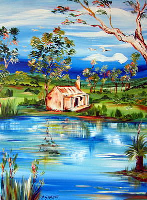 Painting - Australian Hut By The Water Pond  by Roberto Gagliardi