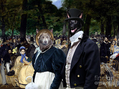 Australian Kelpie Art Canvas Print - Music In The Tuileries Gardens Art Print by Sandra Sij