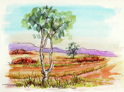 Painting - Australian Landscape Sketch by Margaret Stockdale