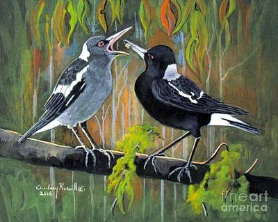 Australian Magpie Feeding Her Young Original by Audrey Russill