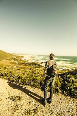 Pause Photograph - Australian Man Admiring Tasmania Landscape by Jorgo Photography - Wall Art Gallery
