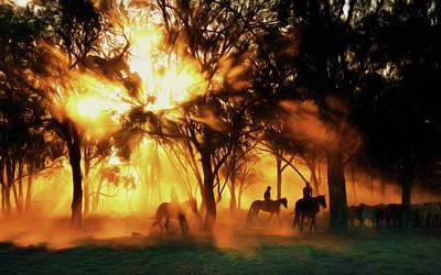 Country Scene Digital Art - Australian Morning At Sunrise by Georgiana Romanovna