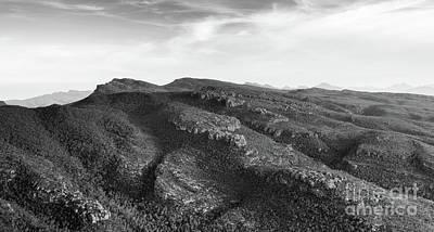 Australian Mountains Black And White Art Print