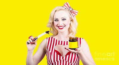 Paste Photograph - Australian Pinup Woman Holding Sandwich Spread by Jorgo Photography - Wall Art Gallery