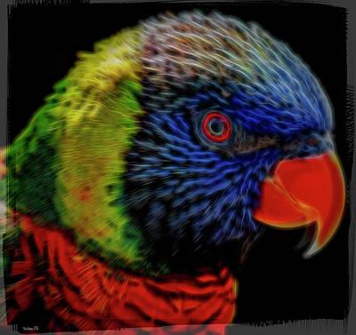 Photograph - Australian Rainbow Lorikeet - Artistic by Teresa Wilson