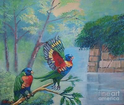 Painting - Australian Rainbow Parrots by Jean Pierre Bergoeing