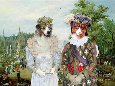 Painting - Australian Shepherd Art Canvas Print - Panorama With Royal Coupe And Castle by Sandra Sij
