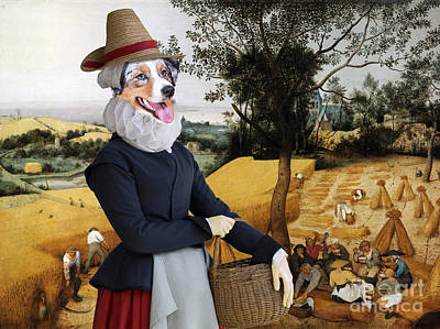 Painting - Australian Shepherd Art Canvas Print - The Harvesters by Sandra Sij