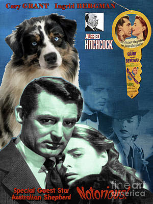 Painting - Australian Shepherd Art -  Notorious  Movie Poster by Sandra Sij