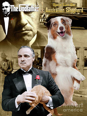 Painting - Australian Shepherd Art -  The Godfather Movie Poster by Sandra Sij