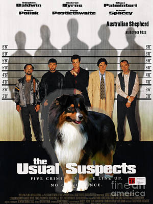 Painting - Australian Shepherd Art - The Usual Suspects Movie Poster by Sandra Sij
