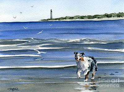 Australian Shepherd At The Beach Art Print by David Rogers