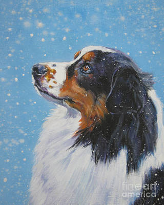 Australian Shepherd In Snow Art Print by Lee Ann Shepard