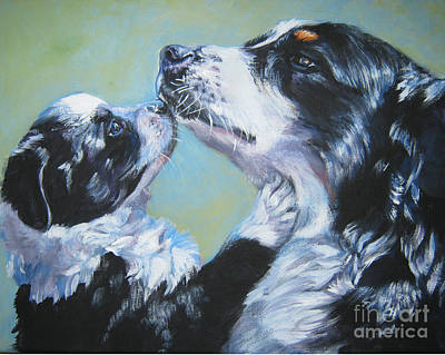 A Dog A Day Painting - Australian Shepherd Mom And Pup by Lee Ann Shepard