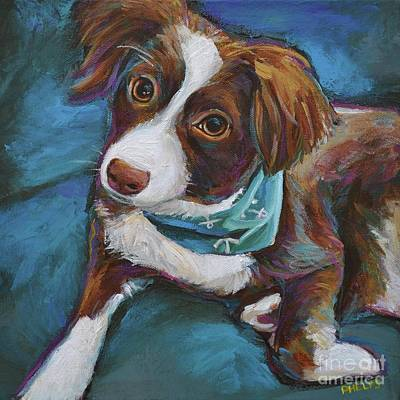 Australian Shepherd Puppy Art Print by Robert Phelps