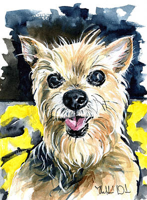 Painting - Australian Silky Terrier Dog Portrait by Dora Hathazi Mendes