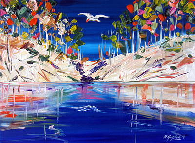 Painting - Australian White Parrot Flying Overthe Billabong by Roberto Gagliardi