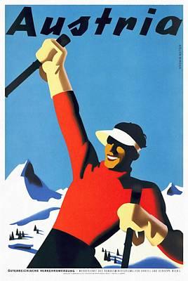 Austria Ski Tourism - Vintage Poster Restored Art Print