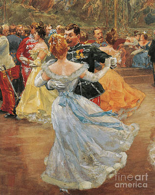 Austria, Vienna, Emperor Franz Joseph I Of Austria At The Annual Viennese Ball  Art Print by Wilhelm Gause