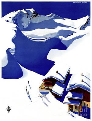 Winter Sports Mixed Media - Austria Wunschheim Restored Vintage Travel Poster by Carsten Reisinger