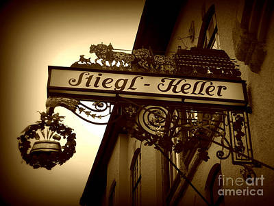 Photograph - Austrian Beer Cellar Sign by Carol Groenen