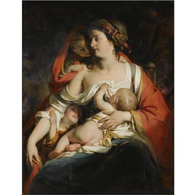Carita Painting - Austrian Caritas by Friedrich von Amerling